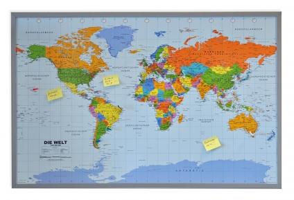 Pinnwand Weltkarte. 90 x 60 cm.