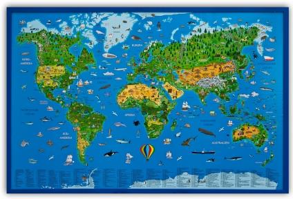 Pinnwand Kinder-Weltkarte. 90 x 60 cm.